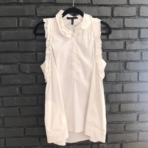 BCBG White Tunic with Collar and Pockets